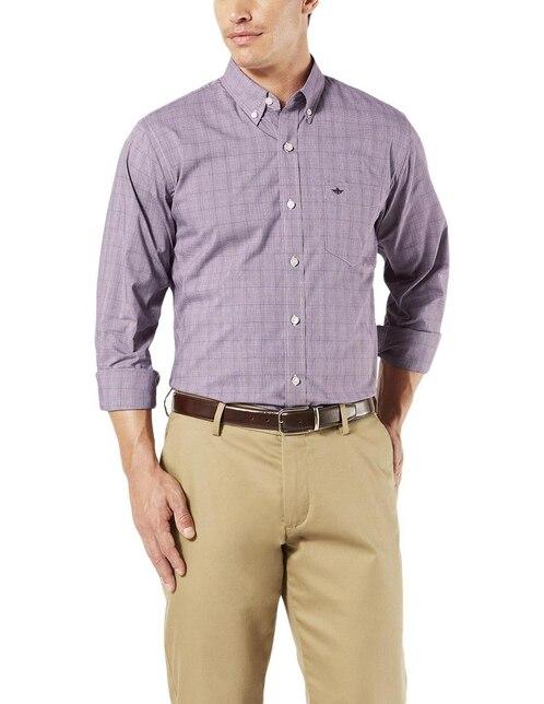 915531973c Camisa casual a cuadros Dockers corte regular fit manga larga morado