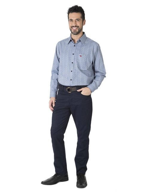 d35799f46e Camisa casual Ferrioni corte regular fit azul con diseño gráfico