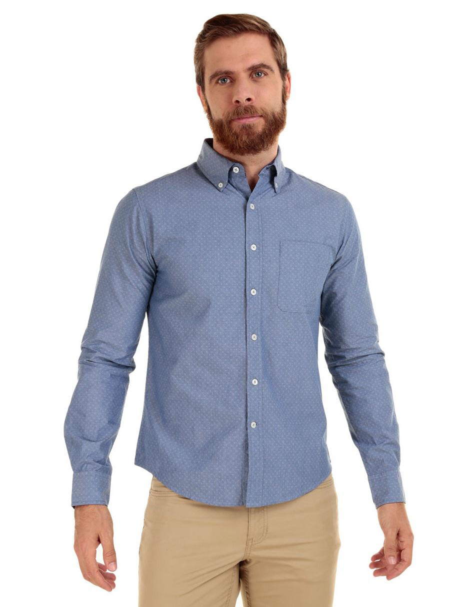 c8d2db7ad1 Camisa casual con diseño gráfico JBE corte regular fit manga larga azul