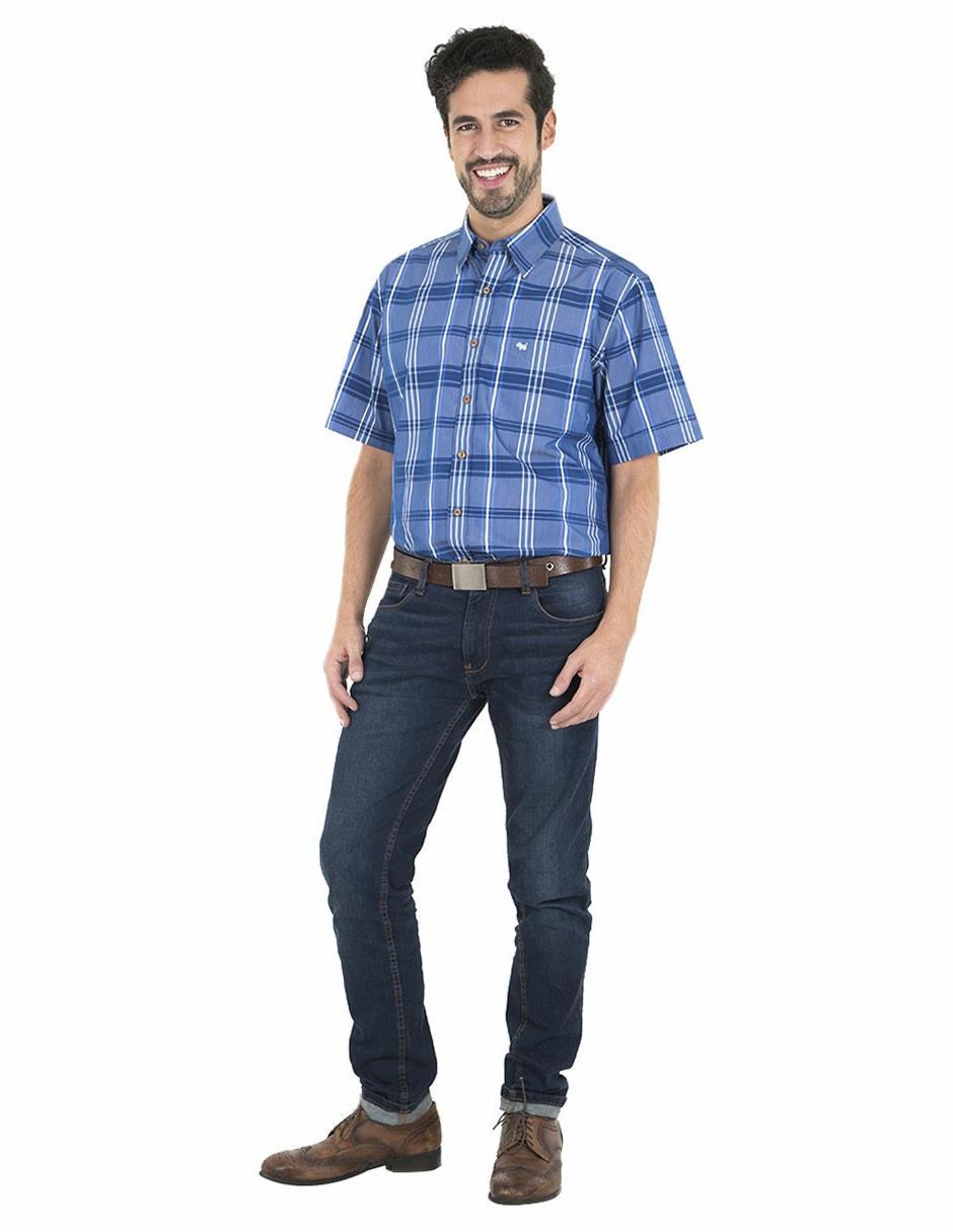38198504ad4 Azul A Manga Cuadros Fit Corta Casual Regular Corte Ferrioni Camisa  zxqBn5w65v ...